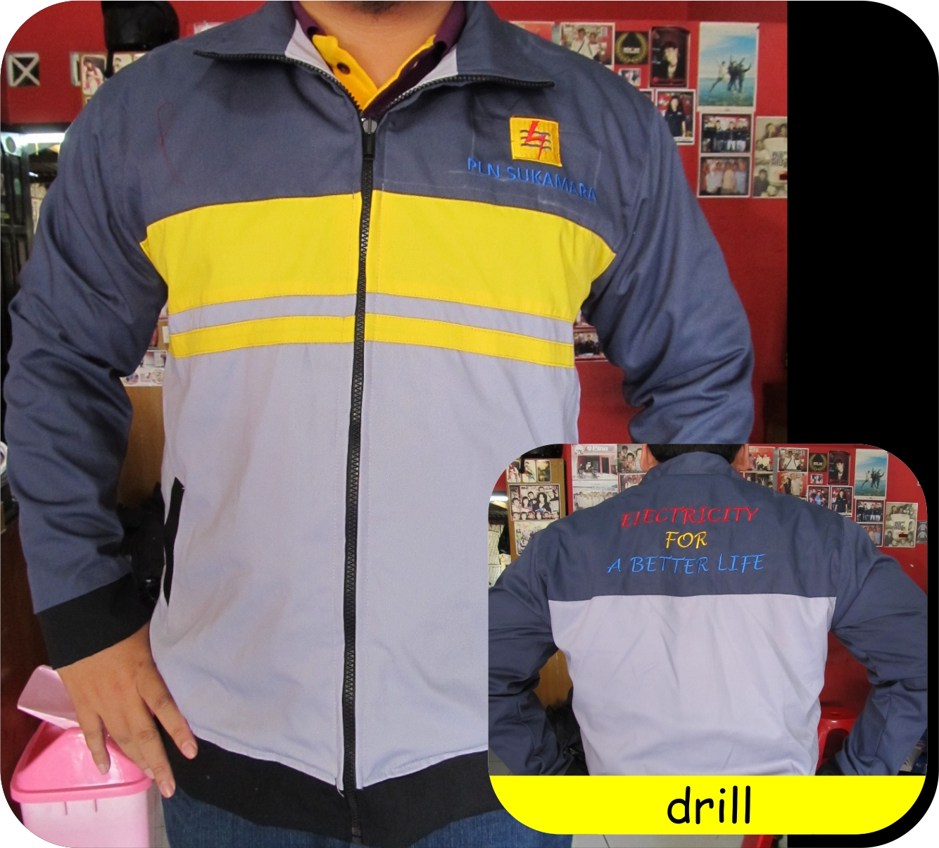 contoh jaket bahan drill