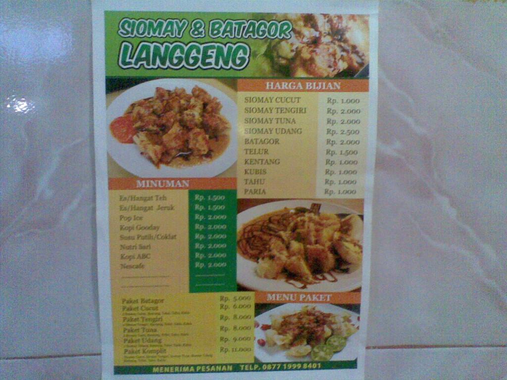 Daftar Harga Siomay & Batagor Langgeng